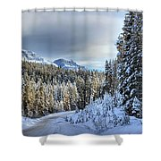 Snow On The Bow Valley Parkway Shower Curtain