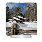 Snow On The Old Time Mill Shower Curtain