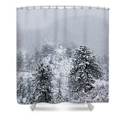 Snow On The Ridge In The Pike National Forest Shower Curtain