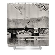 Snow On The River Shower Curtain