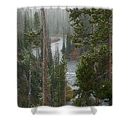 Snow On The Yellowstone River Shower Curtain