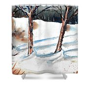 Snow Orchard Shower Curtain