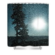Snow Particles Back Light Shower Curtain