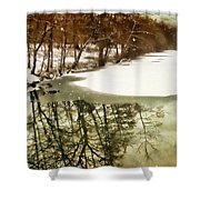 Snow Pond Shower Curtain
