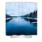 Snow River Horizon Shower Curtain