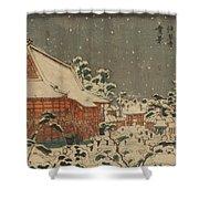 Snow Scene At Sens Ji Temple At Kinry Zan In The Eastern Capital Shower Curtain