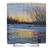 Snow Scene At Sunset Shower Curtain