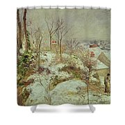 Snow Scene Shower Curtain by Camille Pissarro