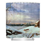 Snow Scene In New England Shower Curtain by American School