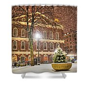 Snow Storm In Faneuil Hall Quincy Market Boston Ma Shower Curtain