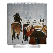 snow storm in the Rockies Shower Curtain