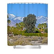 Snow-topped Mountains From Tahquitz Canyon Way In Palm Springs-california  Shower Curtain