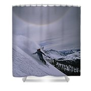Snowboarding Down A Peak In Yosemite Shower Curtain