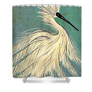 Snowey Egret Tropical Shower Curtain