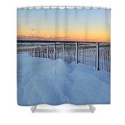 Snowfall At The Shore Shower Curtain