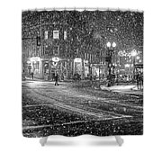 Snowfall In Harvard Square Cambridge Ma 2 Black And White Shower Curtain