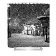 Snowfall In Harvard Square Cambridge Ma Kiosk Black And White Shower Curtain