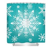 Snowflakes Green And White Shower Curtain