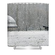 Snowing At The Round Barn Shower Curtain