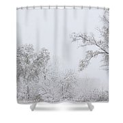 Snowing In A Starbucks Parking Lot Shower Curtain