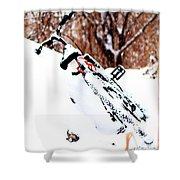 Snowing On The Bicycle Shower Curtain