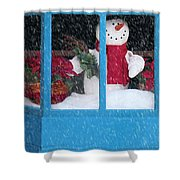 Snowman And Poinsettias - Frosty Christmas Shower Curtain