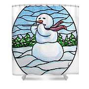 Snowman Flutist Shower Curtain