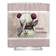 Snowman Greeting Card Shower Curtain