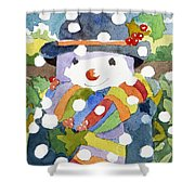 Snowman In Snow Shower Curtain