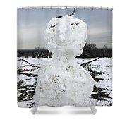 Snowman On Epsom Downs Surrey Uk Shower Curtain