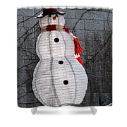 Snowman On The Roof Shower Curtain