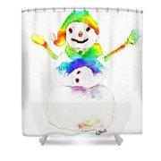 Snowman With Rainbow 1 Shower Curtain