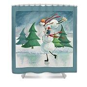 Snowmen Skating Shower Curtain