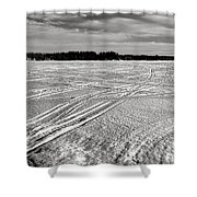 Snowmobile Tracks On China Lake Shower Curtain