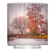 Snowstorm In The Japanese Gardens Shower Curtain