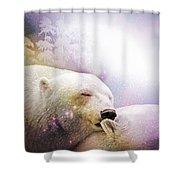 Snowstorm Kisses Shower Curtain