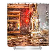 Snowstorm On Tremont Street Boston Ma Park Street Church Shower Curtain
