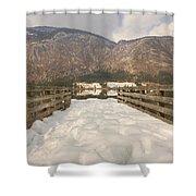 Snowy Alpine Lake Shower Curtain