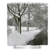 Walking On A Snowy Area Shower Curtain