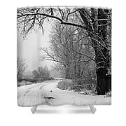 Snowy Branch Over Country Road - Black And White Shower Curtain