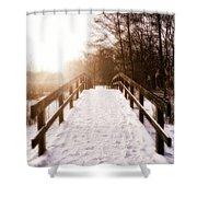 Snowy Bridge Shower Curtain by Wim Lanclus