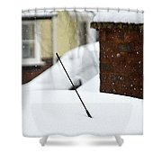 Snowy Car Aerial Shower Curtain