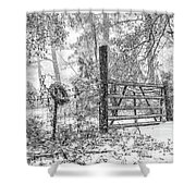 Snowy Cattle Gate Shower Curtain