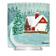 Snowy Cottage Shower Curtain