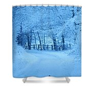 Snowy Country Lane Shower Curtain