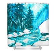 Snowy Creek Banks Shower Curtain by Seth Weaver