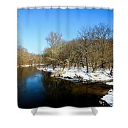 Snowy Creek Morning Shower Curtain