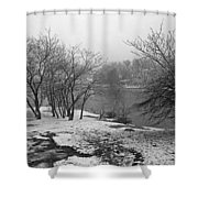 Snowy Day On Redd's Pond And Old Burial Hill Shower Curtain