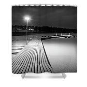 Snowy Dock Shower Curtain