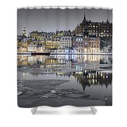 Snowy, Dreamy Reflection In Stockholm Shower Curtain